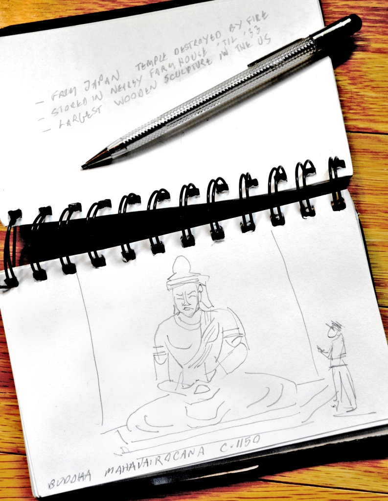 Buddha Mahavairocana, pencil sketch by Roger Vincent Jasaitis, RVJart.com