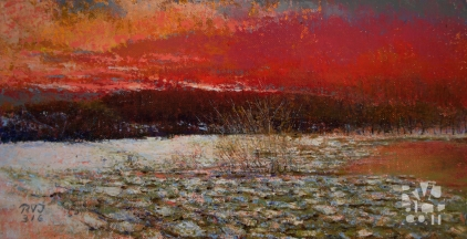 psalm 194, Spring Ice, Weston, oil painting by Roger Vincent Jasaitis, copyright 2016, RVJart.com