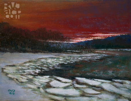 """""""psalm 195, ice out, West River"""", oil painting by Roger Vincent Jasaitis, copyright 2016, RVJart.com"""
