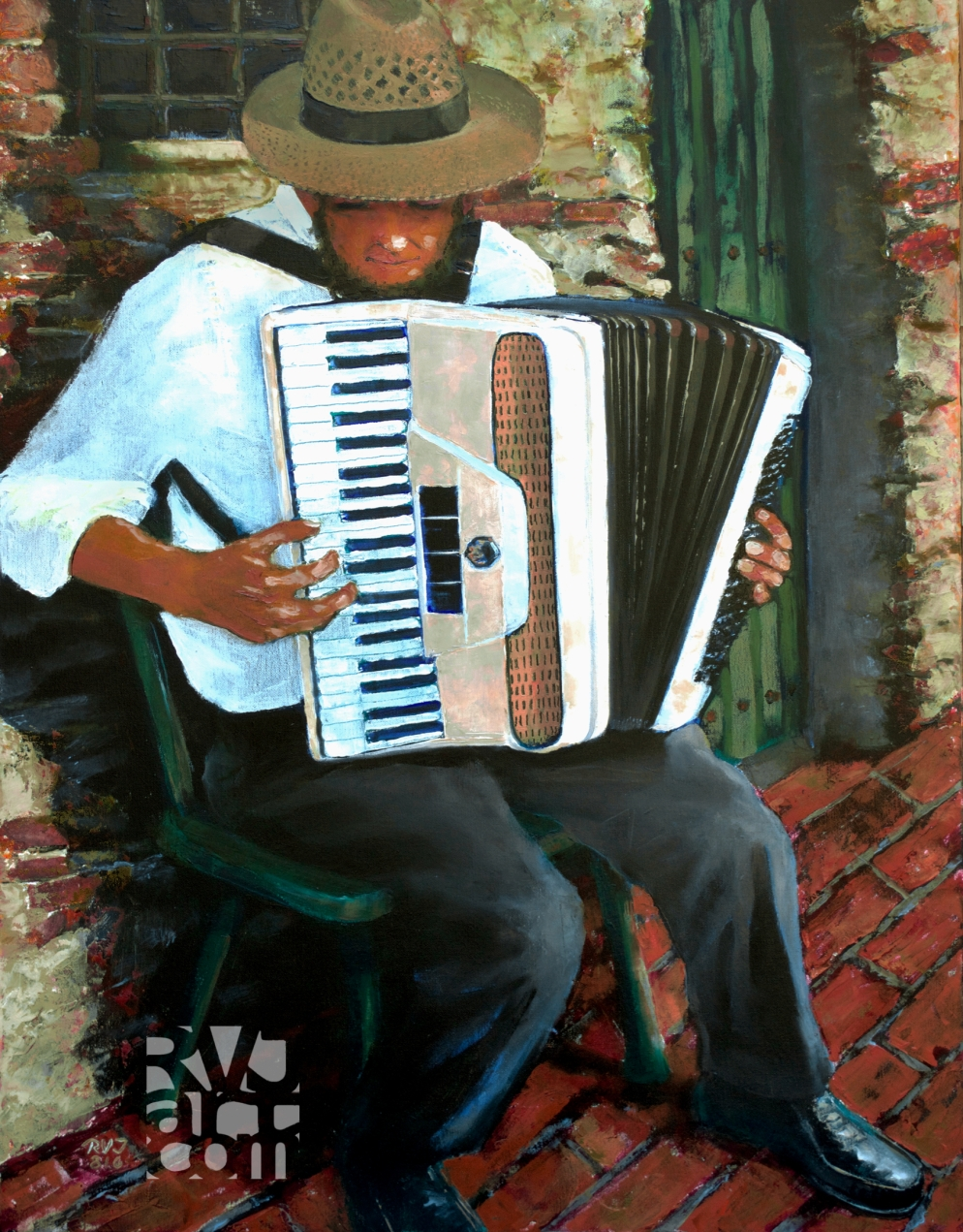 Chromatic Accordionist, España, oil painting by Roger Vincent Jasaitis, Copyright 2016, RVJart.com