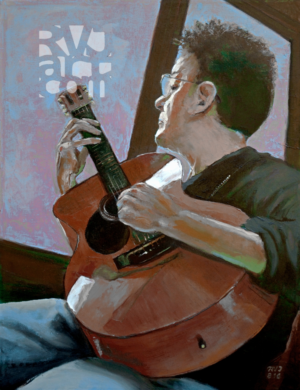 Chromatic Scales, Self portrait with guitar, oil painting by Roger Vincent Jasaitis, Copyright 2016, RVjart.com